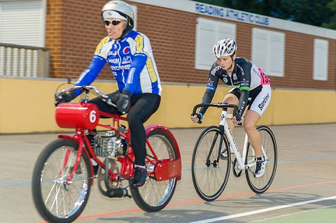 Jo Tindley of Matrix Fitness wins the Ladies' Derny Race