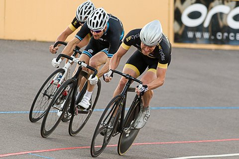Nick English of AW Cycles leads out the Senior A sprint but team mate George Withers (rear) comes round his opponents to win