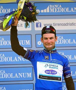 120314 OPQS Tirreno Adriatico Stage 1 TTTCavendish Podium leader (c) Tim De Waele