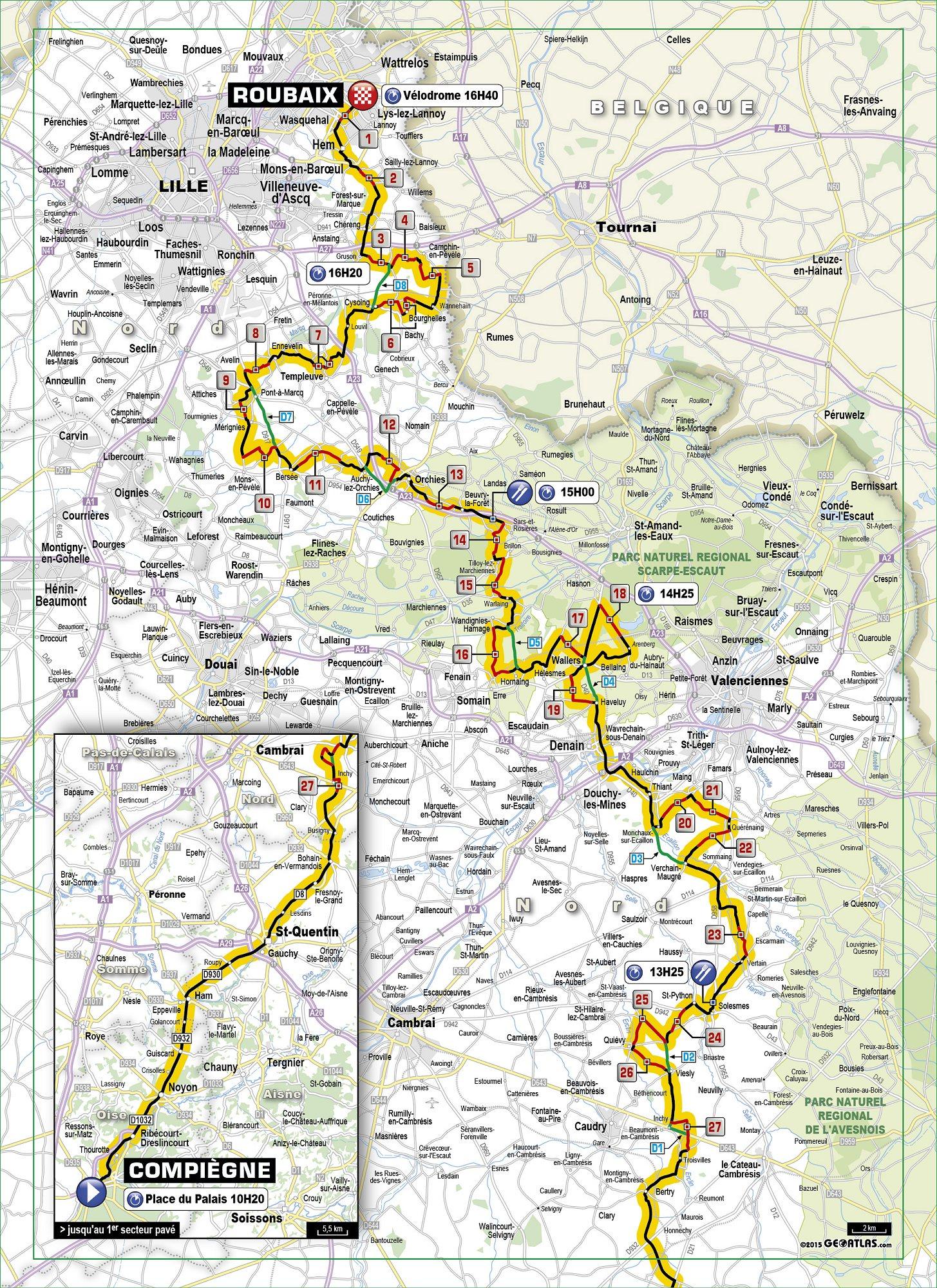2015 ParisRoubaix Map Cobbles velouknet